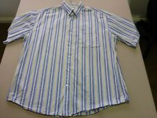 026 MENS NWOT CUTTER & BUCK PALE BLUE / SAND / WHITE STRIPE S/S SHIRT LRG $110.