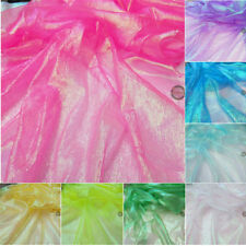 Multi-Color Crystal Organza Crepe Mesh Tulle Fabric Sparkle Hologram Sheer