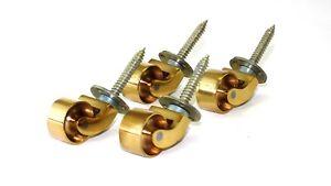 x4 Solid brass 25mm screw in polished brass furniture castors SP25B