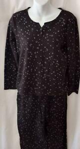 Women's Croft & Barrow black stretchy knit pajama set Size Medium long sleeves