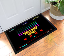 Retro Gaming & Space Inspired Invaders Design Welcome Home Doormat