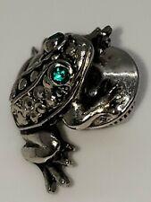 Vintage Avon Frog Toad Pin Brooch Silver Tone Metal Green Rhinestones Eyes.