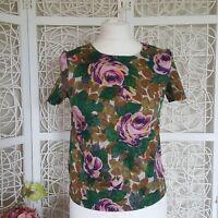 Cath Kidston Sz6 Ladies Floral Top Summer  Cotton/ Elastane  Green Pink