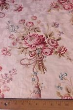 Beautiful Antique French 19thC Printed Roses & Tassels Home Dec Cotton Fabric