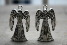 5pcs Tardis 3D double-sided Weeping Angel Charm Pendants  silver tone
