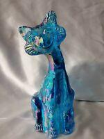 Fenton Glass Blue Iridescent Ally Cat