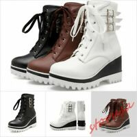 Women High Wedge Heel Platform Punk Ankle Boots Lace UP Buckle Crepper Shoes sz