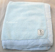 "Little Giraffe Baby Blanket blue thick sherpa satin trim warm & cozy 35"" x 30"""