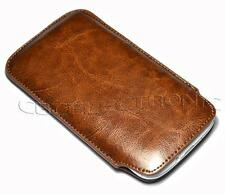 For Samsung Galaxy S3 i9300 Brown leather Fabric Case Pouch Sleeve
