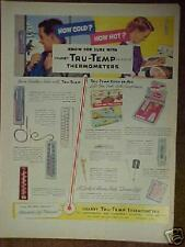 1954 Chaney Tru-Temp Thermometers Indoor~Outdoor~Kitchen Aid Print Ad
