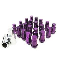 M12 X 1.5mm Aluminum Wheel Lug Nuts 20 Pcs w/Lock Purple CX-7 RX-7 3000GT EVO