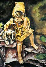 Girl Child Children Puppy Dog  O/E Print ACEO by Vicki