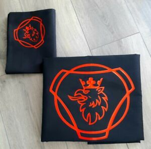 Scania Truck/ Lorry Single Quilt Cover Set, Navy with Red Logo