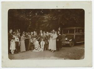 U254 Photographie originale vintage ancien Mariage voiture Car Automobile groupe