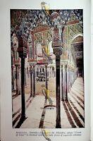 Granada, Alhambra, Court of Lions, Andalusia, Spain, Book Illustration, c1920