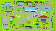 CONNECTOR PLAYMATS AIRPORT AIRPLANES BUSES RUNWAY TOWN FABRIC PANEL