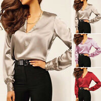 ZANZEA Women Long Sleeve V Neck Shirt Tops Plain Elegant Ladies Blouse Plus Tops