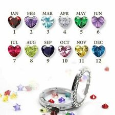 12pcs Months Heart Birthstones Floating Charms For Living Memory Locket Necklace