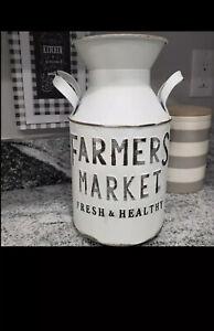 "Rustic ""Farmers Market "" Farmhouse Large Metal Milk Jug"