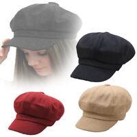 Ladies Womens Girls Wool Blend Baker Boy Peaked Cap Newsboy Hat Christmas