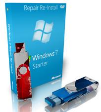 Dell Windows 7 Starter Repair Reinstall Recovery Boot USB + Driver USB 64 Bit