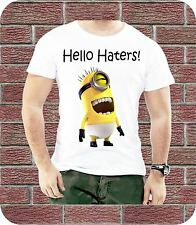 HELLO HATERS MINIONS DESPICABLE COMIC SLOGAN PRESENT CHILDREN MEN KIDS T-SHIRT