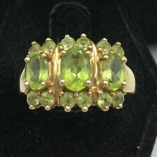 10k Yellow Gold Round Oval Peridot Cluster Cocktail Ring Size 7