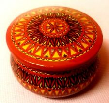 DECORATIVE TRADITIONAL RUSSIAN SOVIET RED GOLD BLACK WOODEN POT WITH LID