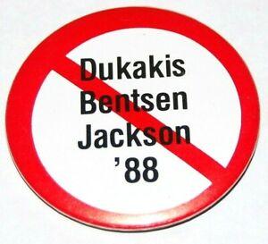 1988 anti MICHAEL DUKAKIS JESSE JACKSON campaign pin pinback button political