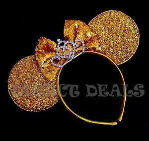 Minnie Mouse Ear Princess BIG Silver Gold Tiara Crown Headband Shiny Yellow Ears