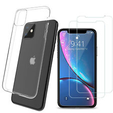 Clear Gel Case with Tempered Glass Screen Protector for iPhone 11 Plus Pro Max