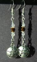 Handmade Crystal Silver Sand Dollar Dangle Pierced Earrings Ocean Legend
