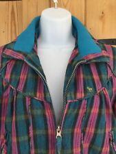 On trend Tartan Turquoise Pink Check Bomber Jacket Chemistry Italia Sz 8 Winter