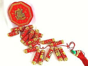 CHINESE XXL 115cm RED GOLD PLASTIC FAUX FIRECRACKERS PARTY DECORATION ONLY A8