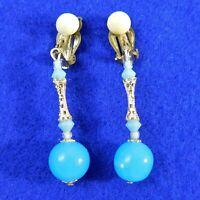 Vintage Drop Earrings Clip Back Blue Bead Gold Tone