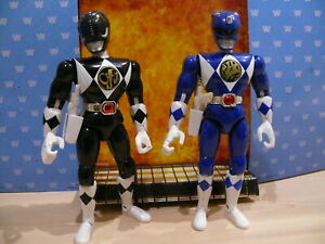 Original vintage Mighty Morphin Power Rangers 8 inch black & blue ranger figures