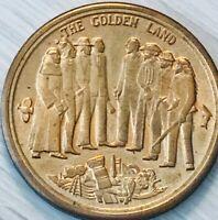 """1969 California Bicentennial bronze token - """"the golden land"""""""