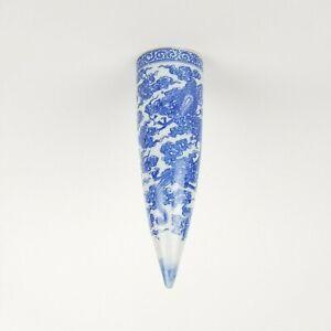 Vintage Asian Wall Pocket Flower Vase Flying Dragon Blue Clouds Porcelain Cone
