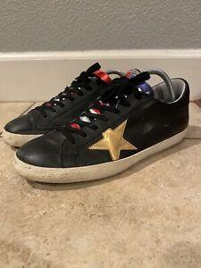Golden Goose Francy Laminated American Flag Gold Star Black 43 9/9.5