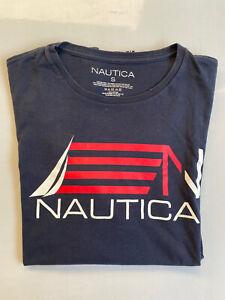 Nautica Size S Men T-Shirt - Dark Blue Short Sleeve Crew Neck Cotton TShirt