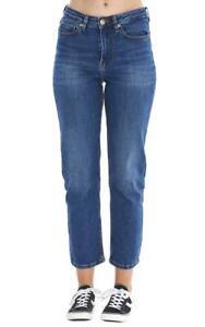 Ladies Ankle Grazer Mid Rise Straight Leg Womens Stretch Blue Denim Jeans