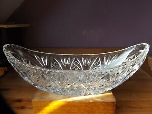 Vintage Czech Deep Cut Lead Crystal Boat Shape Dish Pinwheel Design Bowl