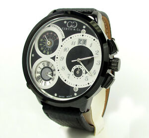 Curtis & Co Mens Black PVD XL Swiss Watch 3 Time Zone
