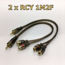 2x Premium Quality RCA 1:2 Channel 1M2F Splitter Car Audio Wire Connector #EWgtc