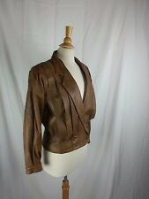 Women's Brown Leather Collared Button Long Sleeve Jacket Size M Medium