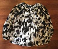 Apt 9 Women's Size Petite Medium Blouse 100% Polyester Black White Pattern
