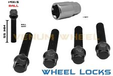 4 PC 14X1.5 BLACK WHEEL LOCKS 55MM EXTENDED SHANK + KEY FITS AUDI A5 1995-2018