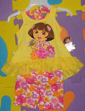 @**NICKELODEON'S DORA THE EXPLORER TUNIC TOP AND FLORAL PRINT SHORTS**@SIZE 18M