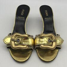Fendi Gold Buckle Mule Heels Size 6
