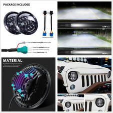 2 Pcs Aluminum 7'' LED Hi/Lo Beam Headlight H4/H13 Adapter For 4x4 4WD Off Road